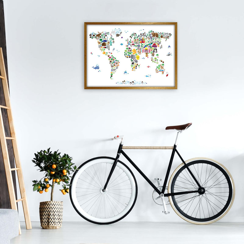 Animal Map of the World Nursery Art Print by Michael Tompsett A1 Print Only