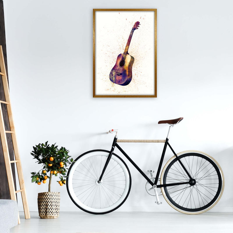 Acoustic Guitar Watercolour  by Michael Tompsett A1 Print Only