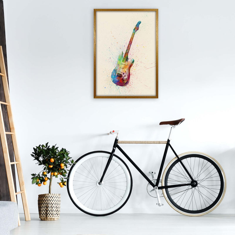 Electric Guitar Watercolour Multi-Colour  by Michael Tompsett A1 Print Only