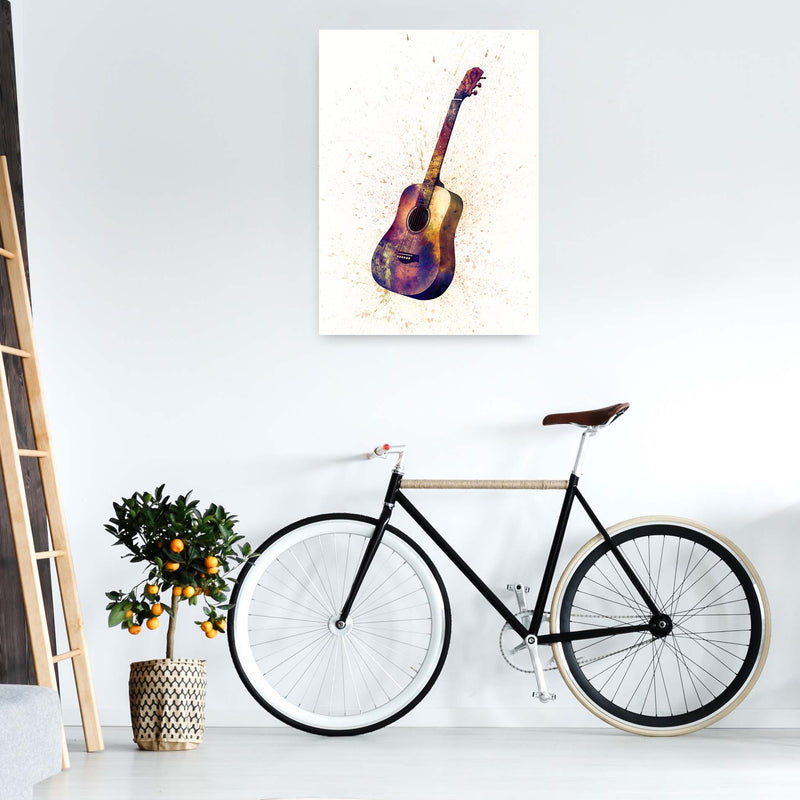 Acoustic Guitar Watercolour  by Michael Tompsett A1 Black Frame