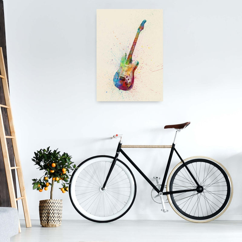 Electric Guitar Watercolour Multi-Colour  by Michael Tompsett A1 Black Frame