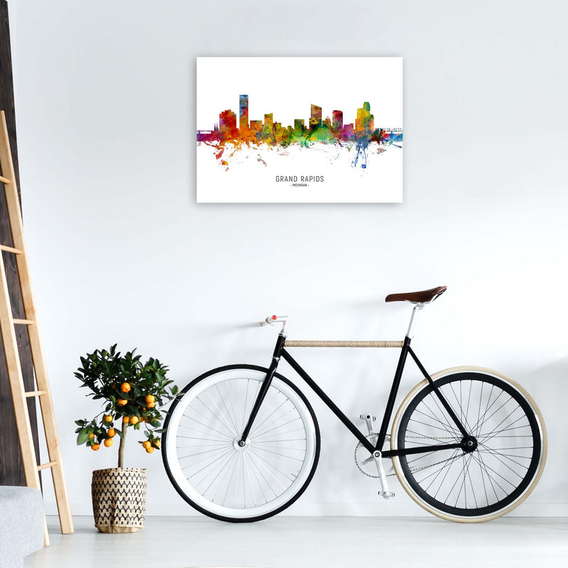 Grand Rapids Michigan Skyline Art Print by Michael Tompsett A1 Black Frame