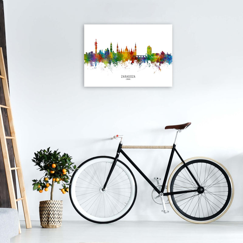 Zaragoza Spain Skyline Art Print by Michael Tompsett A1 Black Frame