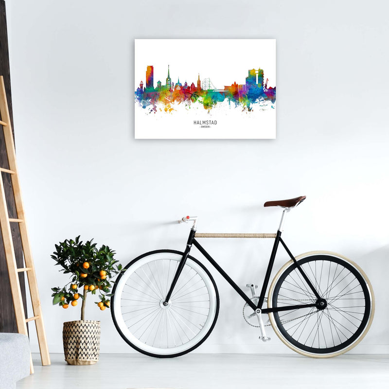 Halmstad Sweden Skyline Art Print by Michael Tompsett A1 Black Frame