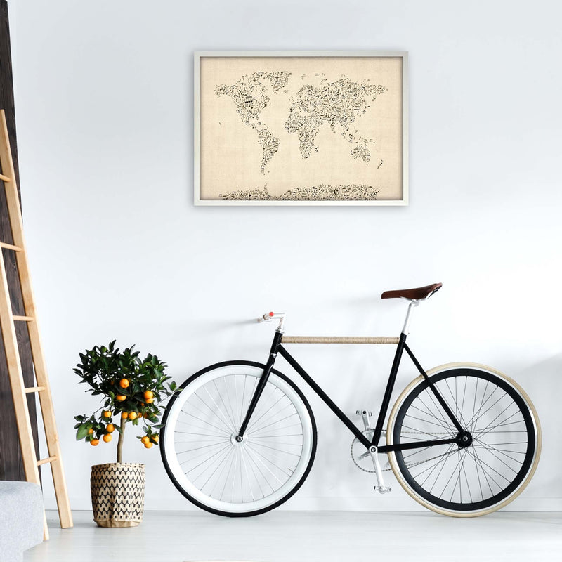 Music Notes Map of the World Art Print by Michael Tompsett A1 Oak Frame