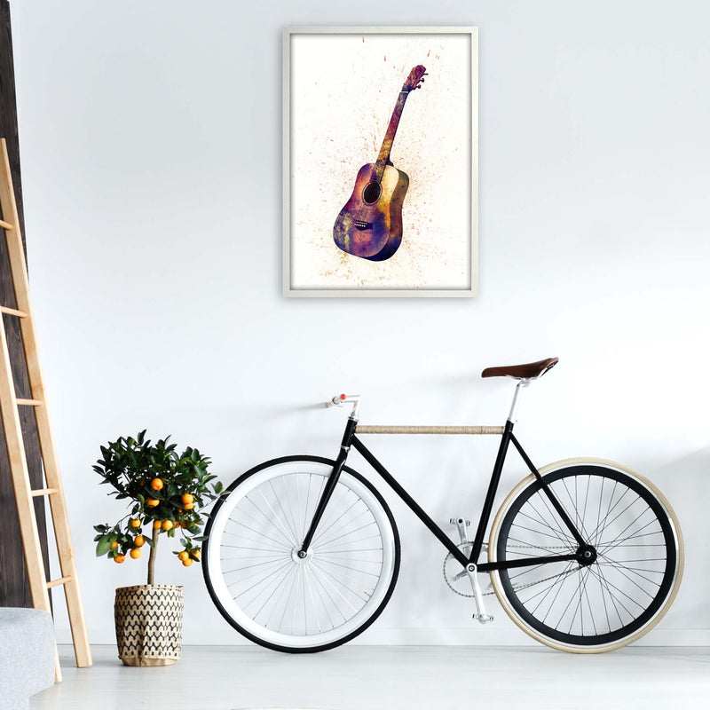 Acoustic Guitar Watercolour  by Michael Tompsett A1 Oak Frame