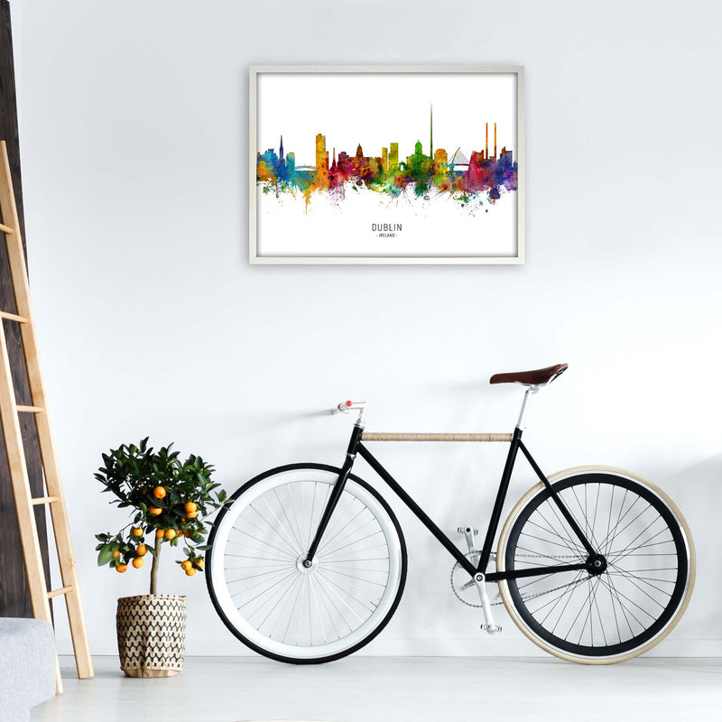 Dublin Ireland Skyline Art Print by Michael Tompsett A1 Oak Frame