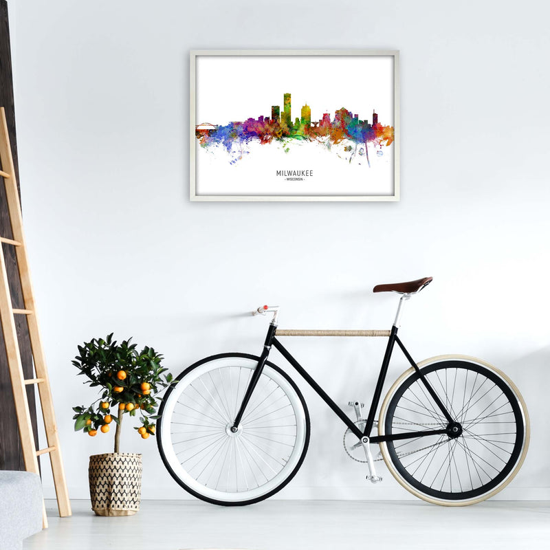 Milwaukee Wisconsin Skyline Art Print by Michael Tompsett A1 Oak Frame