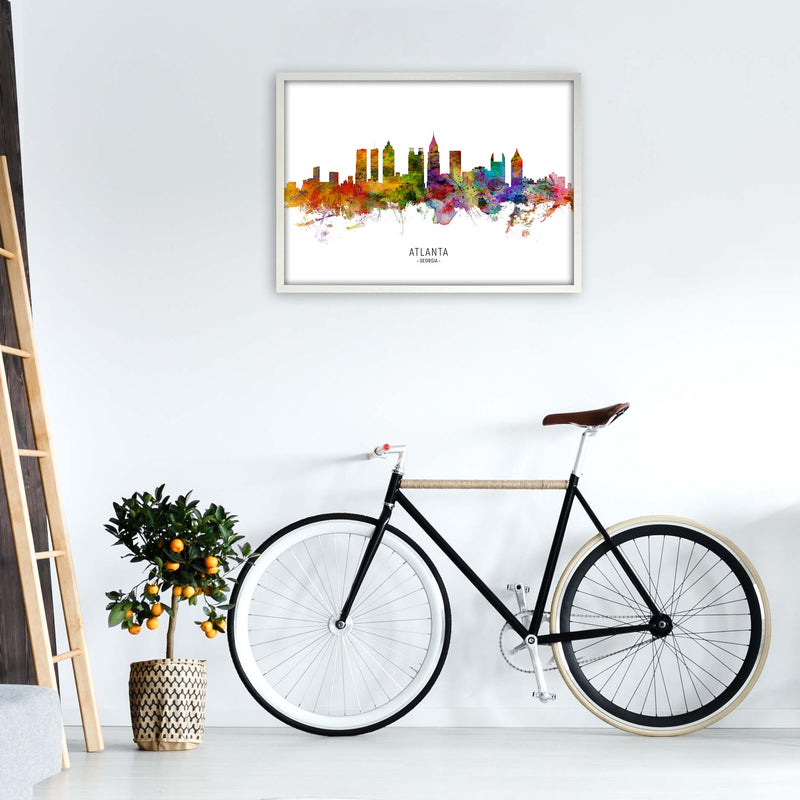 Atlanta Georgia Skyline Art Print by Michael Tompsett A1 Oak Frame