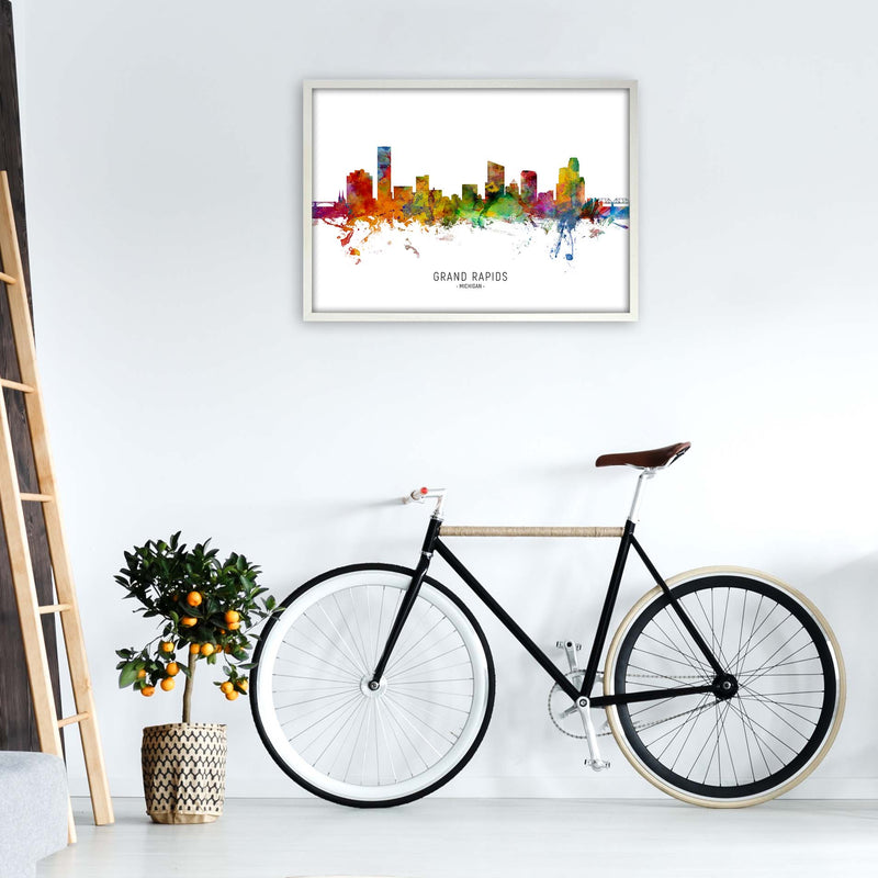 Grand Rapids Michigan Skyline Art Print by Michael Tompsett A1 Oak Frame