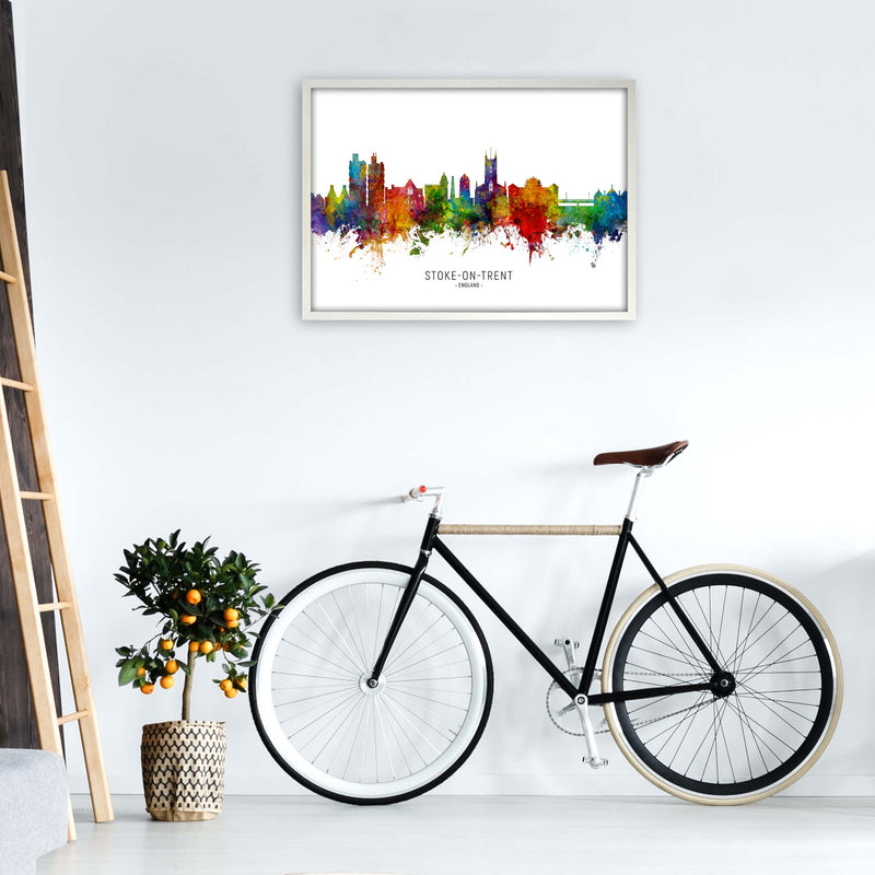 Stoke-On-Trent England Skyline Art Print by Michael Tompsett A1 Oak Frame