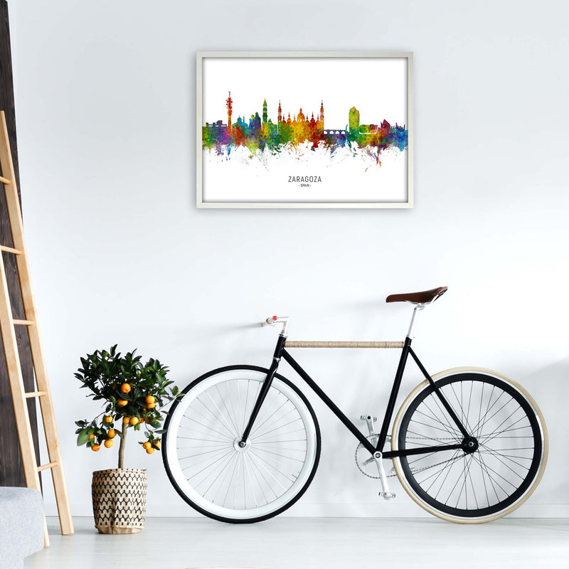Zaragoza Spain Skyline Art Print by Michael Tompsett A1 Oak Frame