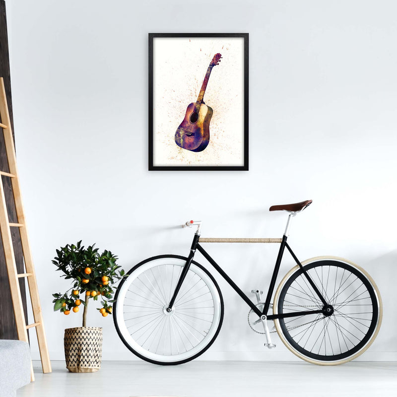 Acoustic Guitar Watercolour  by Michael Tompsett A2 White Frame