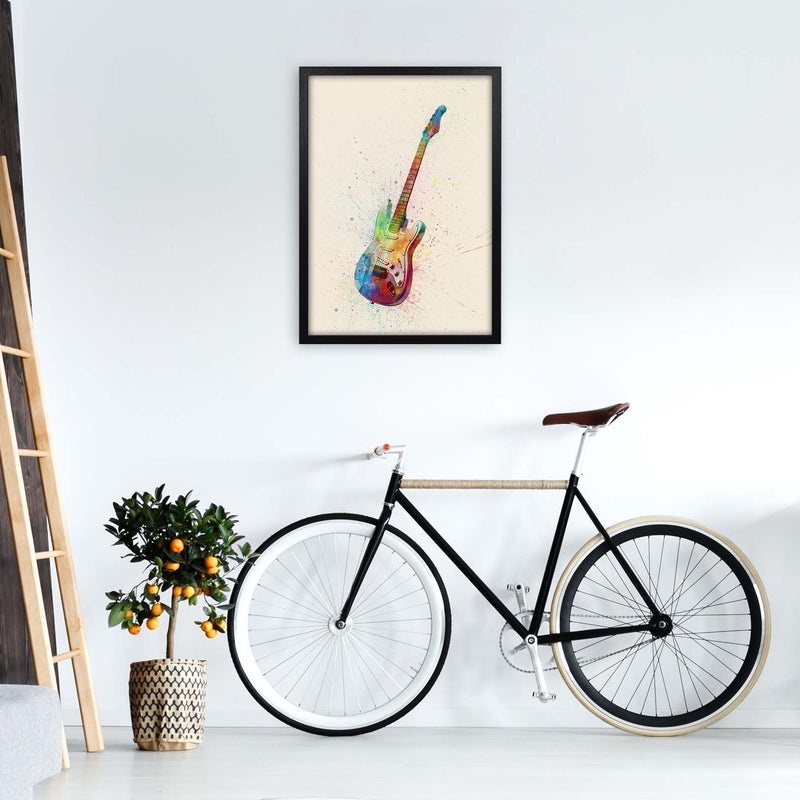 Electric Guitar Watercolour Multi-Colour  by Michael Tompsett A2 White Frame