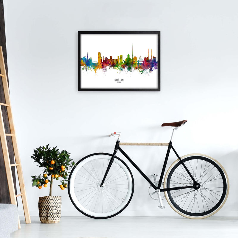 Dublin Ireland Skyline Art Print by Michael Tompsett A2 White Frame