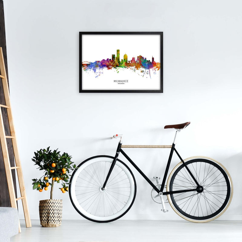 Milwaukee Wisconsin Skyline Art Print by Michael Tompsett A2 White Frame