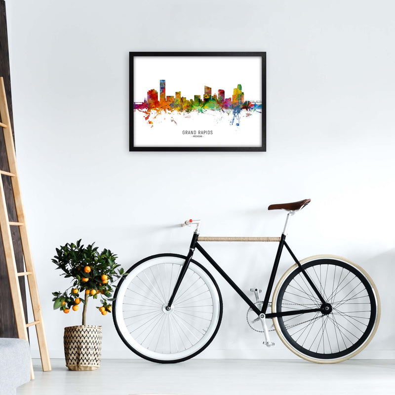 Grand Rapids Michigan Skyline Art Print by Michael Tompsett A2 White Frame