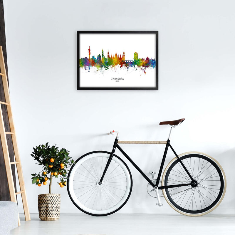 Zaragoza Spain Skyline Art Print by Michael Tompsett A2 White Frame