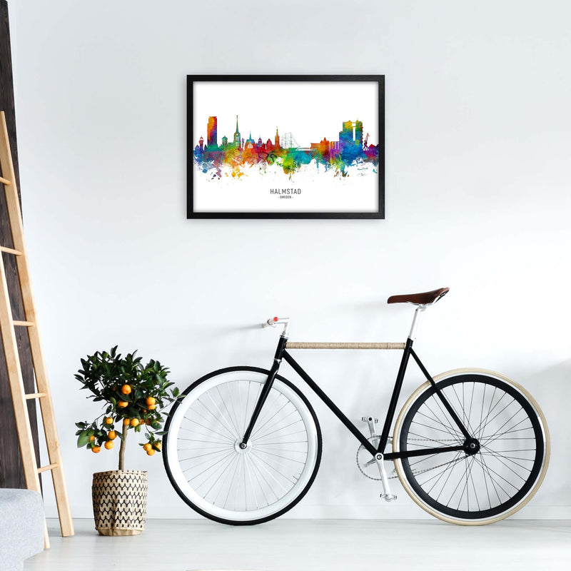 Halmstad Sweden Skyline Art Print by Michael Tompsett A2 White Frame