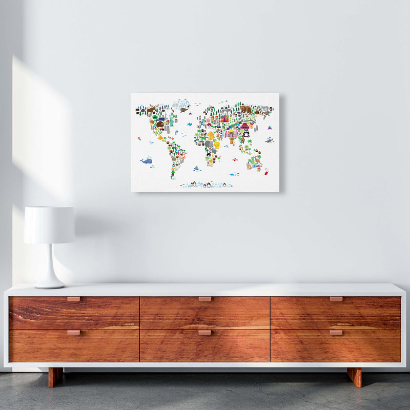 Animal Map of the World Nursery Art Print by Michael Tompsett A2 Canvas