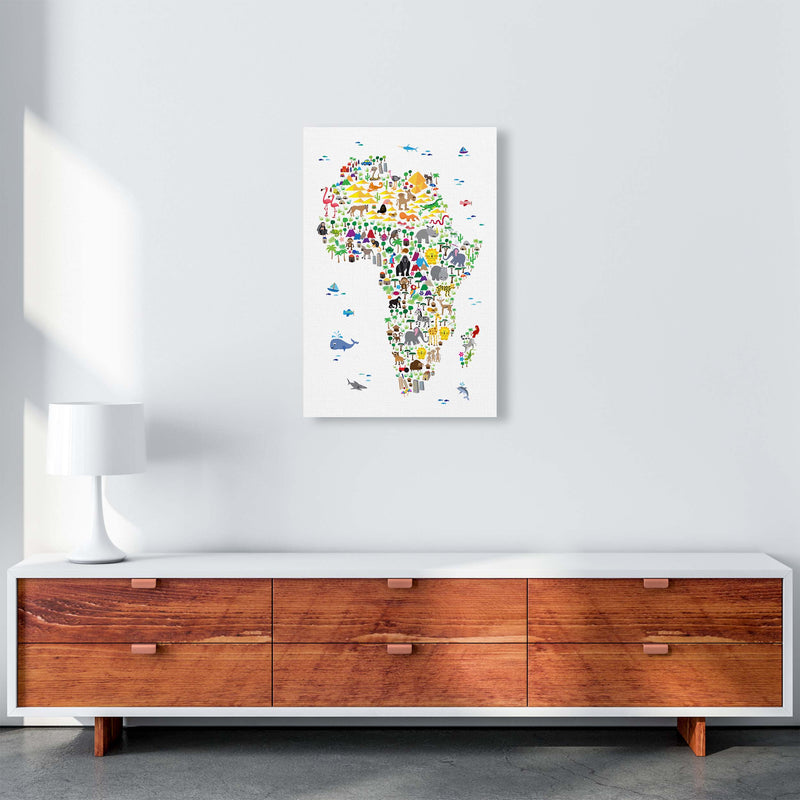 Animal Map of Africa Nursery Art Print by Michael Tompsett A2 Canvas