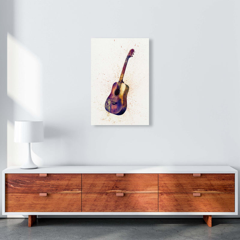 Acoustic Guitar Watercolour  by Michael Tompsett A2 Canvas