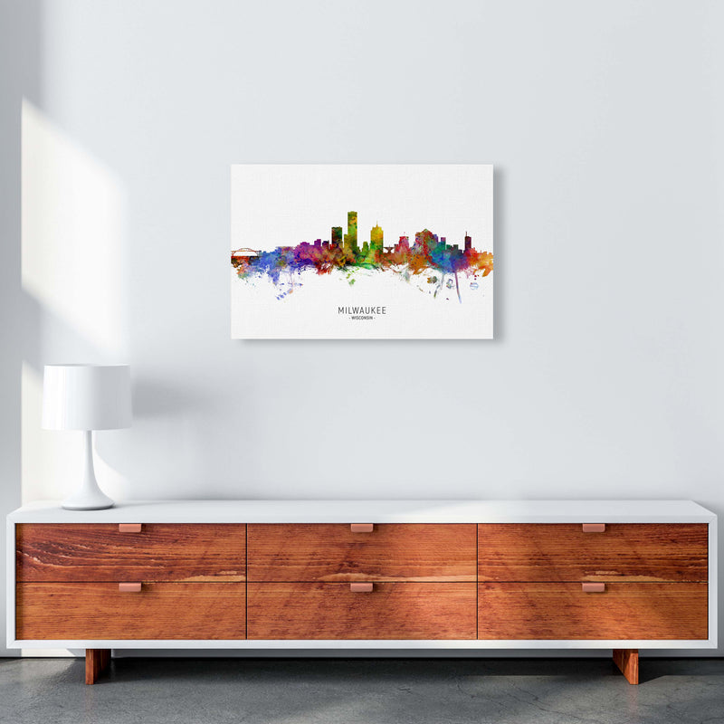 Milwaukee Wisconsin Skyline Art Print by Michael Tompsett A2 Canvas