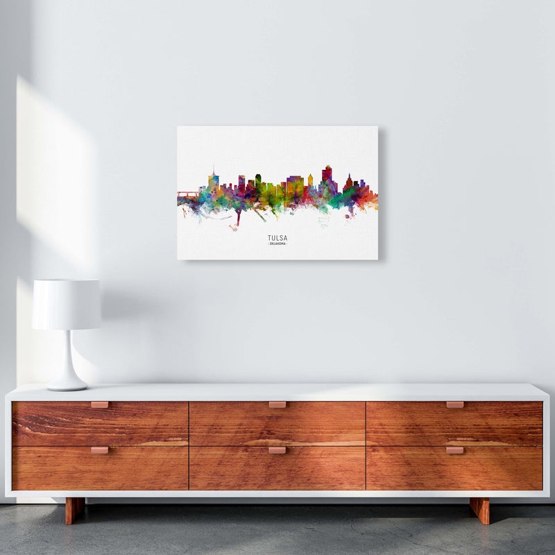 Tulsa Oklahoma Skyline Art Print by Michael Tompsett A2 Canvas
