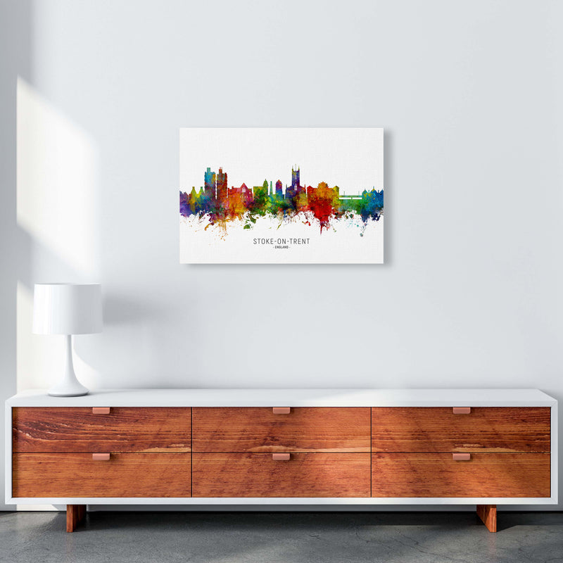 Stoke-On-Trent England Skyline Art Print by Michael Tompsett A2 Canvas