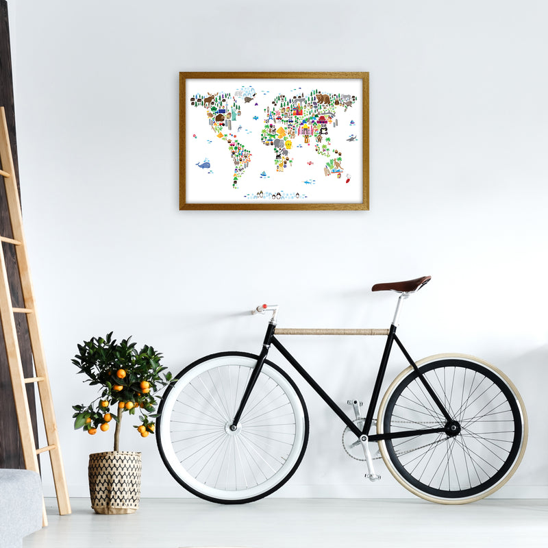 Animal Map of the World Nursery Art Print by Michael Tompsett A2 Print Only