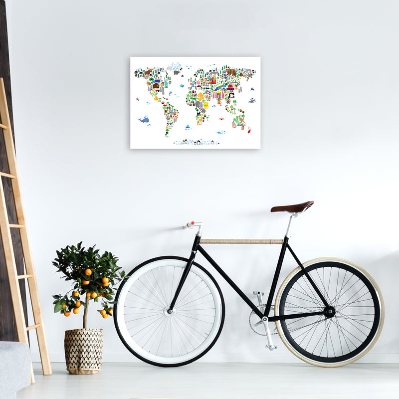 Animal Map of the World Nursery Art Print by Michael Tompsett A2 Black Frame