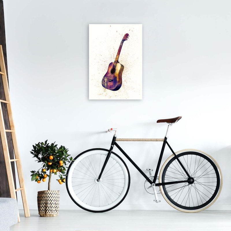 Acoustic Guitar Watercolour  by Michael Tompsett A2 Black Frame