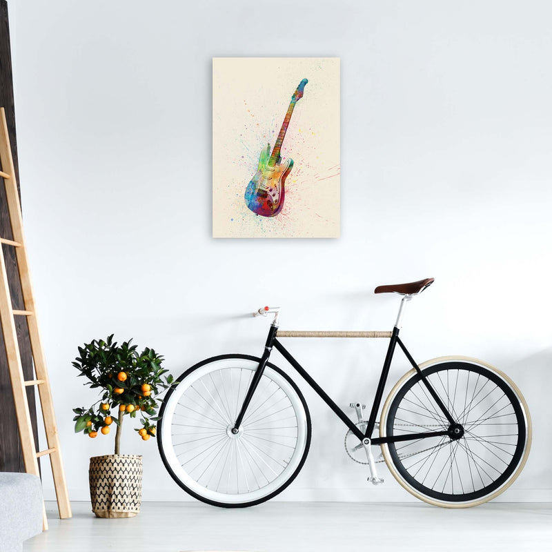 Electric Guitar Watercolour Multi-Colour  by Michael Tompsett A2 Black Frame