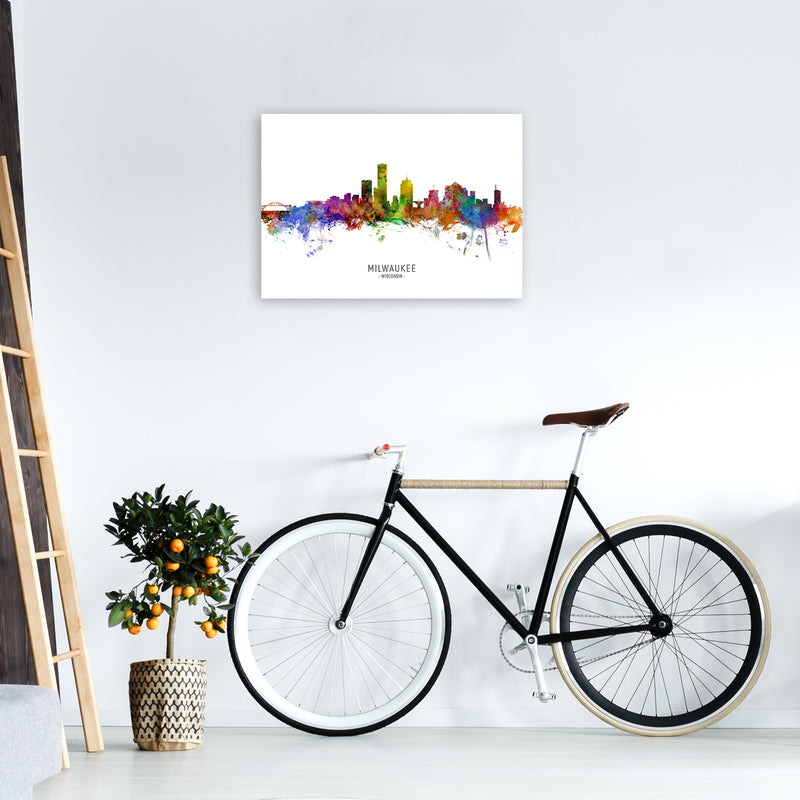 Milwaukee Wisconsin Skyline Art Print by Michael Tompsett A2 Black Frame