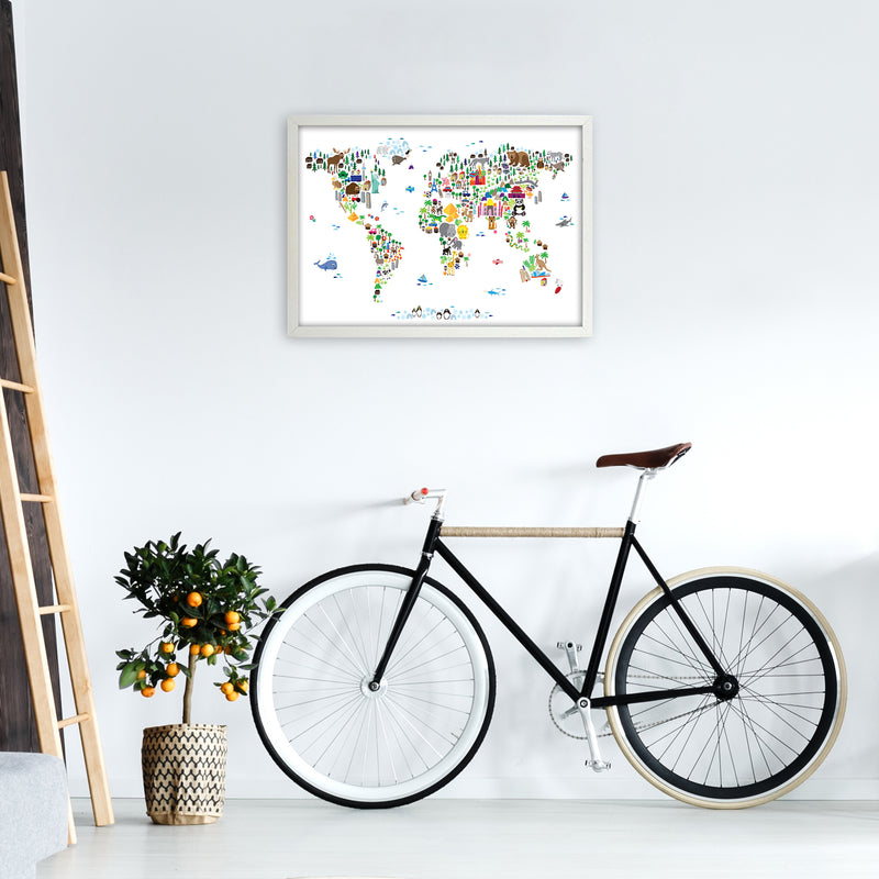 Animal Map of the World Nursery Art Print by Michael Tompsett A2 Oak Frame