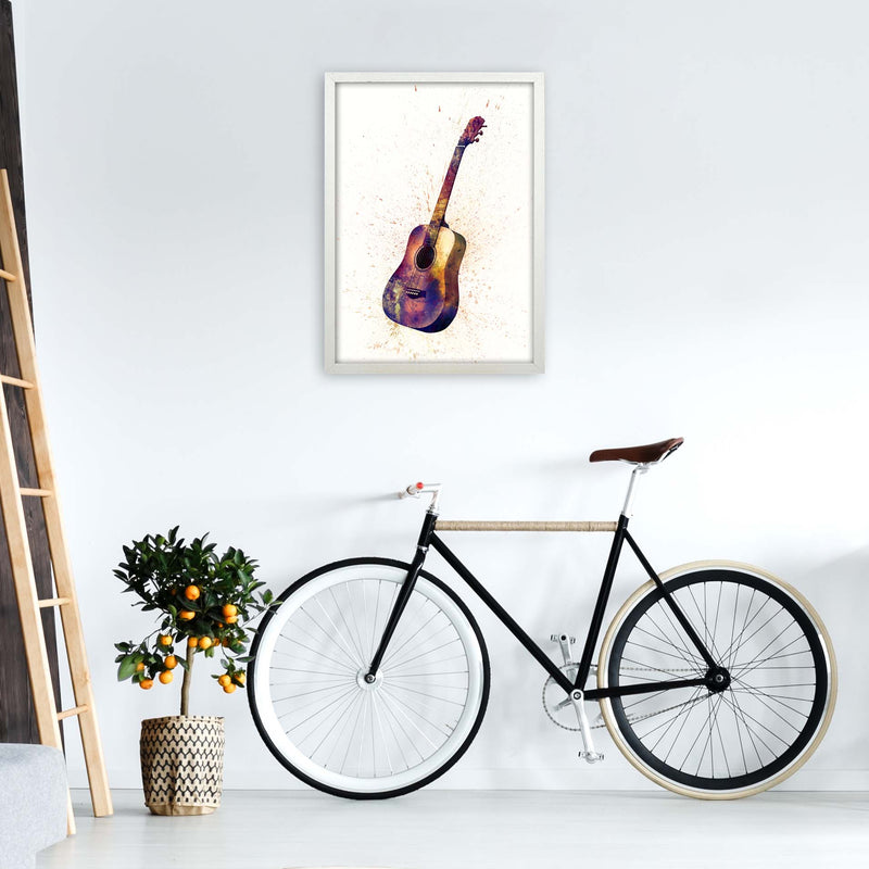 Acoustic Guitar Watercolour  by Michael Tompsett A2 Oak Frame