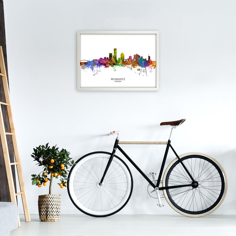 Milwaukee Wisconsin Skyline Art Print by Michael Tompsett A2 Oak Frame