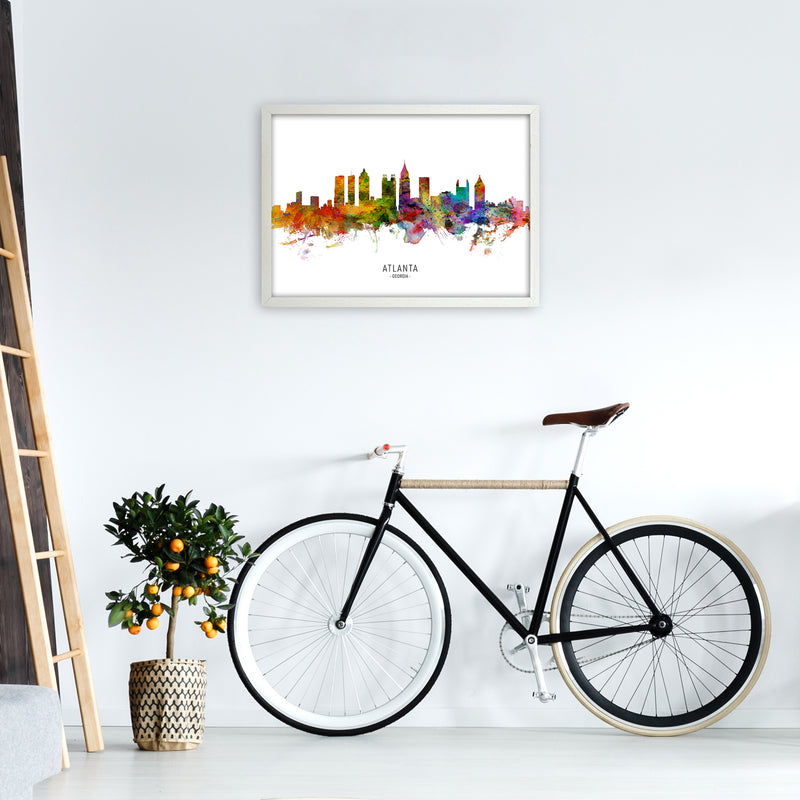 Atlanta Georgia Skyline Art Print by Michael Tompsett A2 Oak Frame