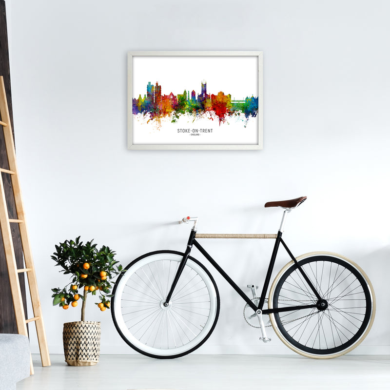Stoke-On-Trent England Skyline Art Print by Michael Tompsett A2 Oak Frame