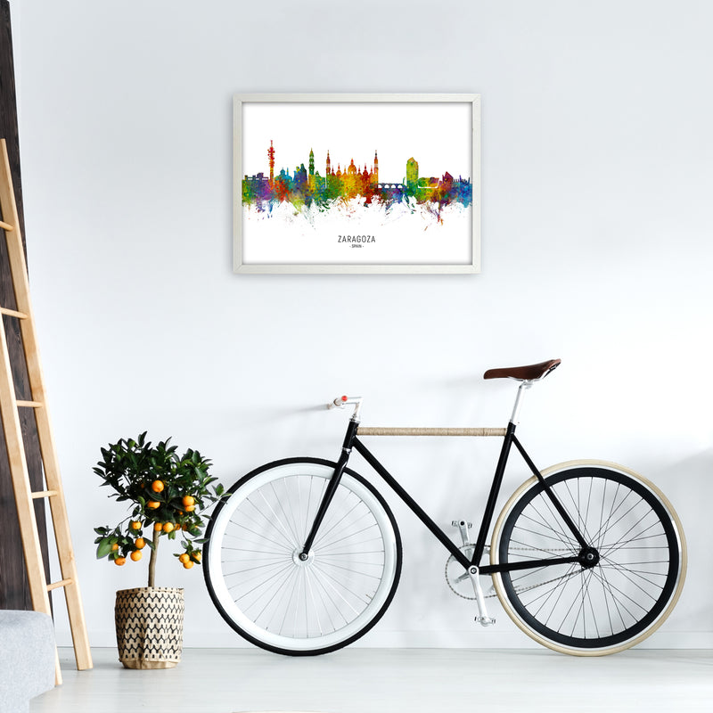 Zaragoza Spain Skyline Art Print by Michael Tompsett A2 Oak Frame