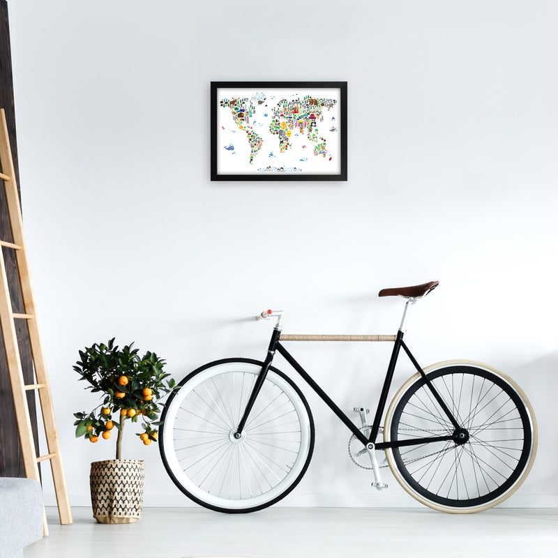 Animal Map of the World Nursery Art Print by Michael Tompsett A3 White Frame