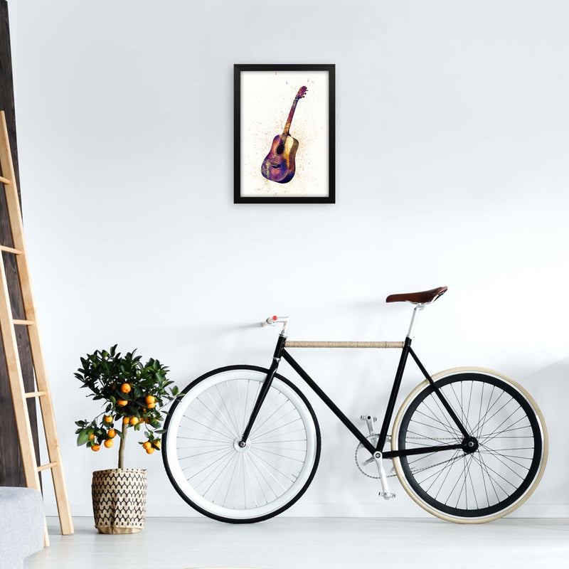Acoustic Guitar Watercolour  by Michael Tompsett A3 White Frame