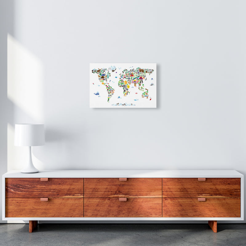 Animal Map of the World Nursery Art Print by Michael Tompsett A3 Canvas