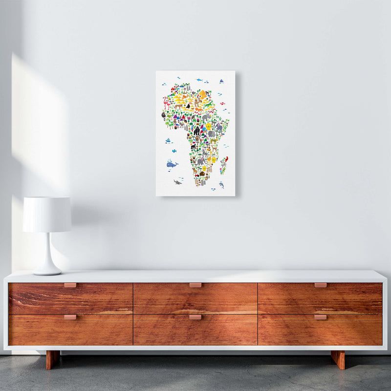 Animal Map of Africa Nursery Art Print by Michael Tompsett A3 Canvas