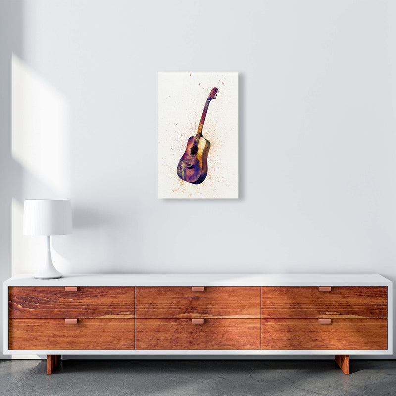 Acoustic Guitar Watercolour  by Michael Tompsett A3 Canvas