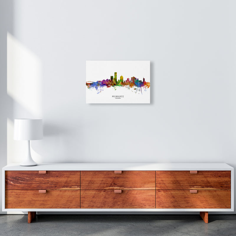 Milwaukee Wisconsin Skyline Art Print by Michael Tompsett A3 Canvas