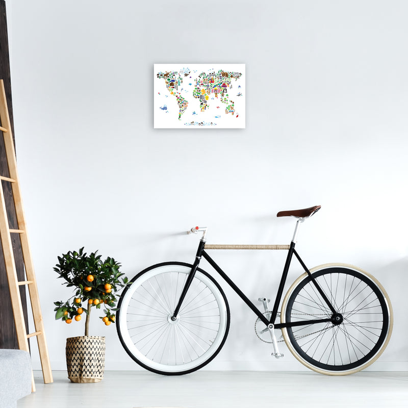 Animal Map of the World Nursery Art Print by Michael Tompsett A3 Black Frame