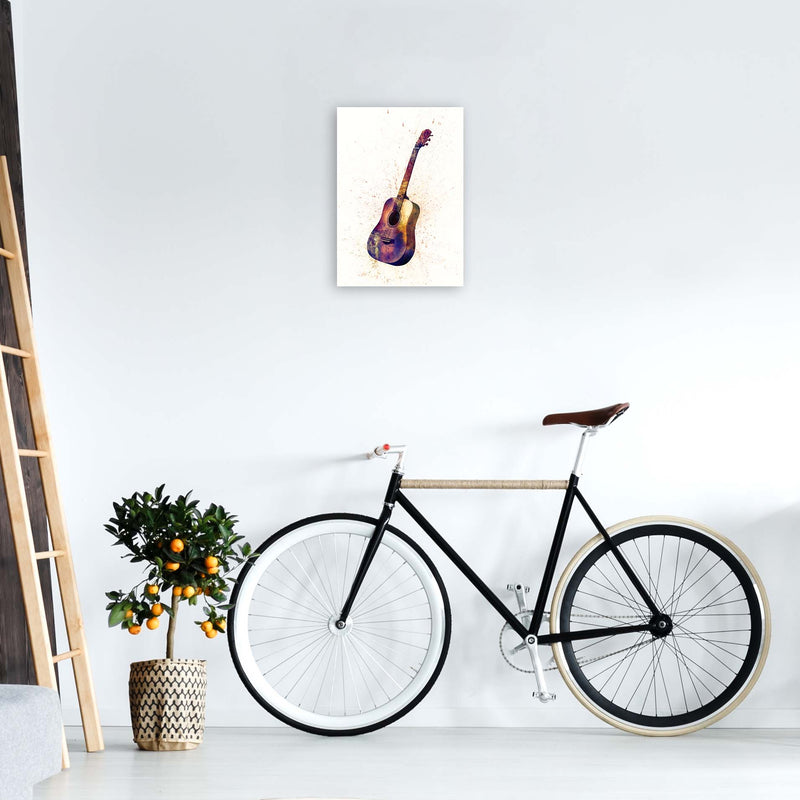 Acoustic Guitar Watercolour  by Michael Tompsett A3 Black Frame