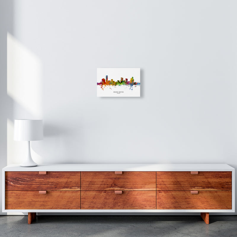 Grand Rapids Michigan Skyline Art Print by Michael Tompsett A4 Canvas