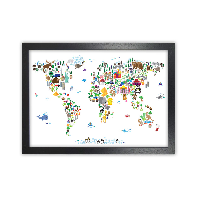 Animal Map of the World Nursery Art Print by Michael Tompsett Black Grain